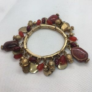 4 for $12: Gold and Red Stretch Bracelet